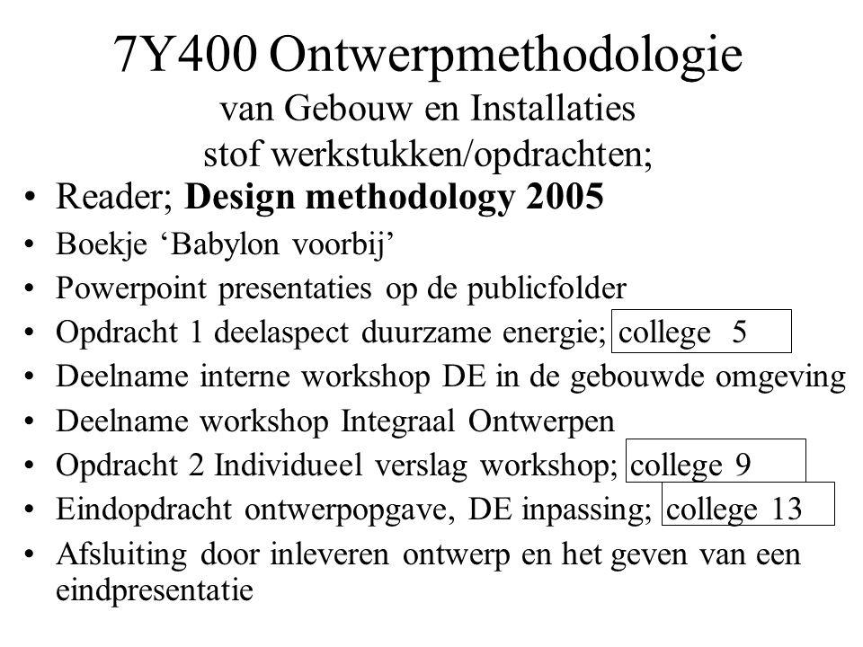 7Y400 Ontwerpmethodologie van Gebouw en Installaties stof werkstukken/opdrachten;