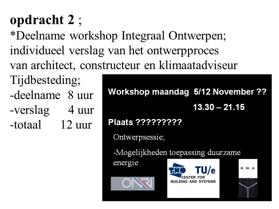 opdracht 2 ; *Deelname workshop Integraal Ontwerpen;