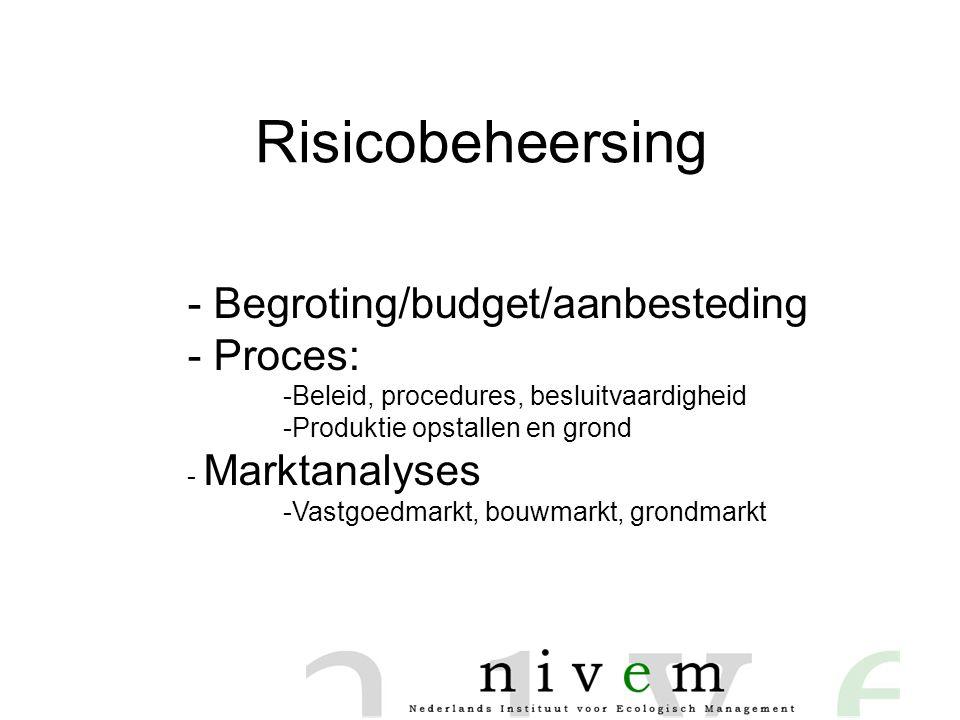 Risicobeheersing - Begroting/budget/aanbesteding Proces: