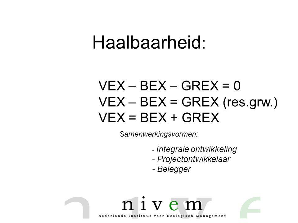 Haalbaarheid: VEX – BEX – GREX = 0 VEX – BEX = GREX (res.grw.)