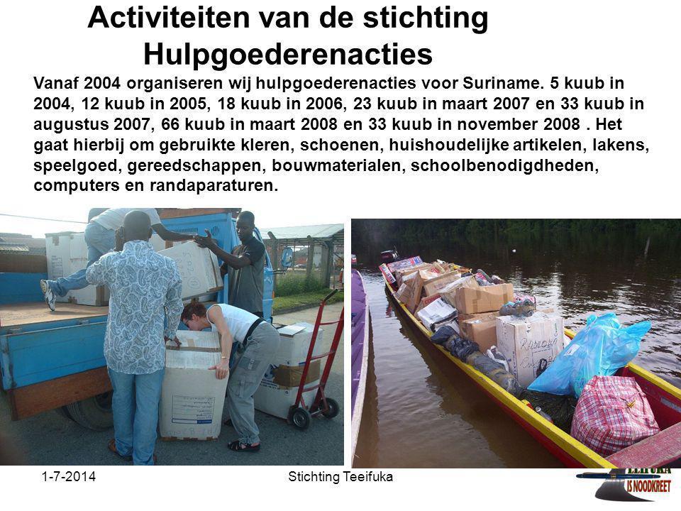 Activiteiten van de stichting Hulpgoederenacties