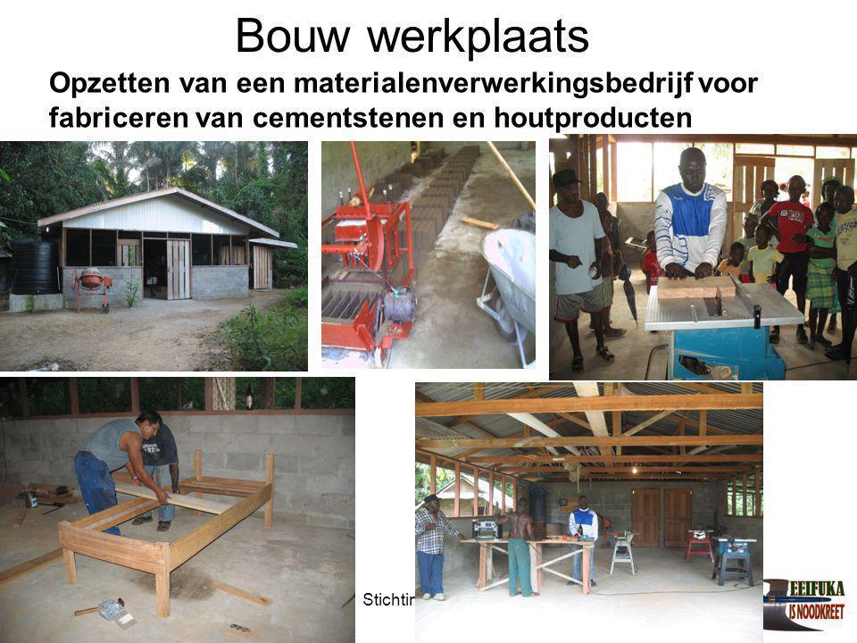 Bouw werkplaats Opzetten van een materialenverwerkingsbedrijf voor fabriceren van cementstenen en houtproducten.