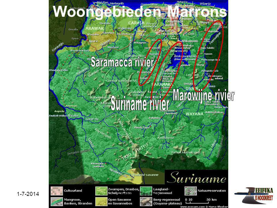 Woongebieden Marrons Saramacca rivier Marowijne rivier Suriname rivier