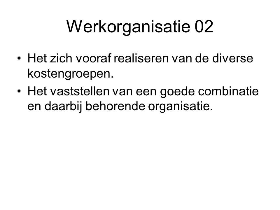 Werkorganisatie 02 Het zich vooraf realiseren van de diverse kostengroepen.