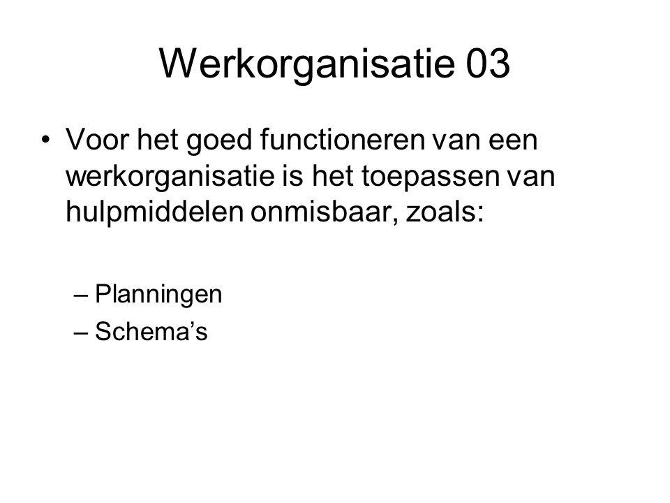 Werkorganisatie 03 Voor het goed functioneren van een werkorganisatie is het toepassen van hulpmiddelen onmisbaar, zoals: