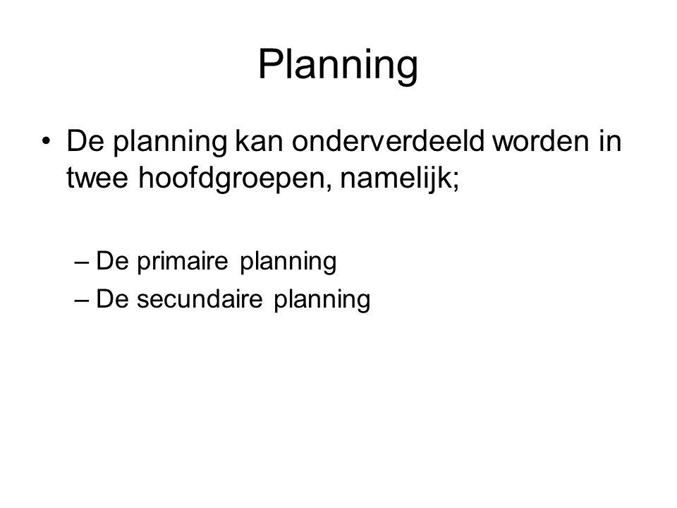 Planning De planning kan onderverdeeld worden in twee hoofdgroepen, namelijk; De primaire planning.