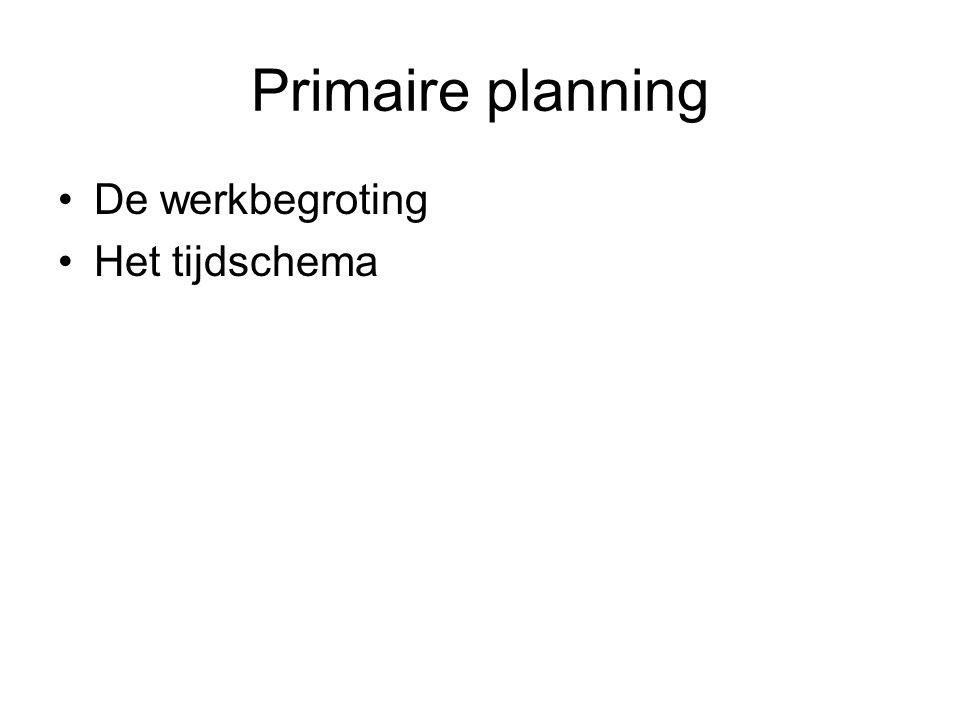 Primaire planning De werkbegroting Het tijdschema