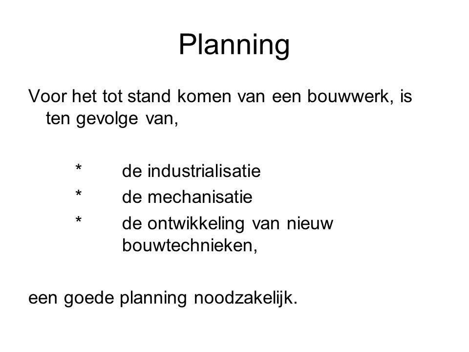 Planning Voor het tot stand komen van een bouwwerk, is ten gevolge van, * de industrialisatie. * de mechanisatie.