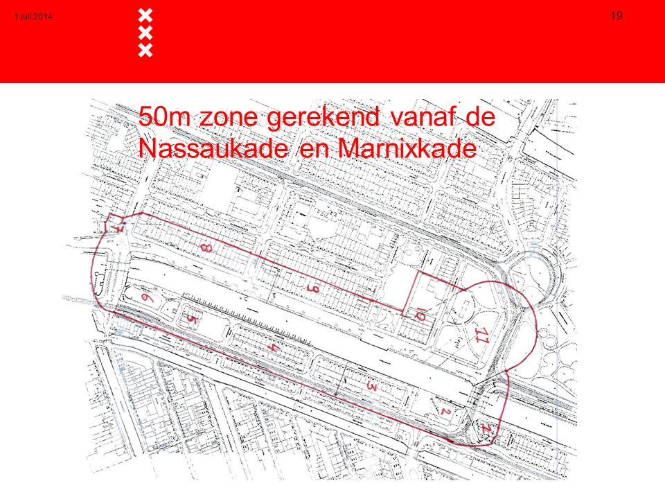 50m zone gerekend vanaf de Nassaukade en Marnixkade