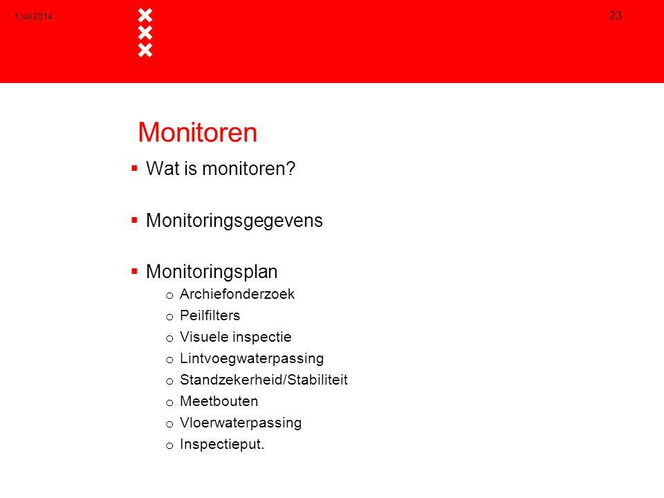 Monitoren Wat is monitoren Monitoringsgegevens Monitoringsplan