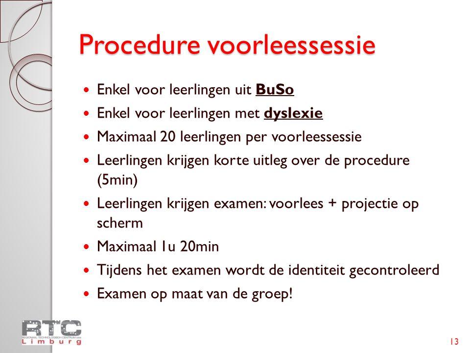 Procedure voorleessessie