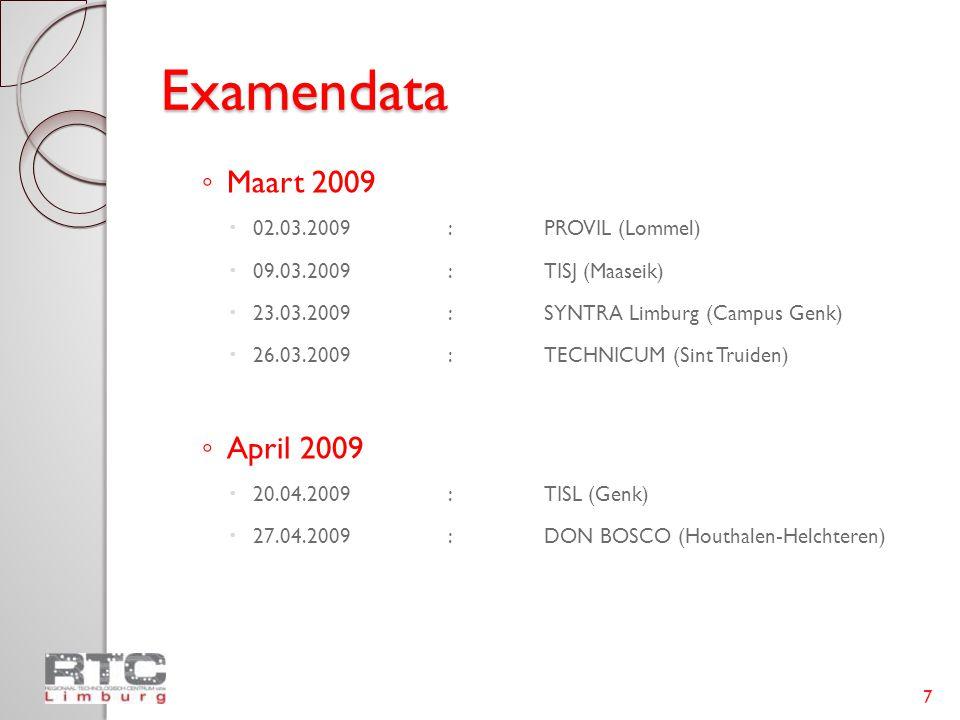 Examendata Maart 2009 April 2009 02.03.2009 : PROVIL (Lommel)
