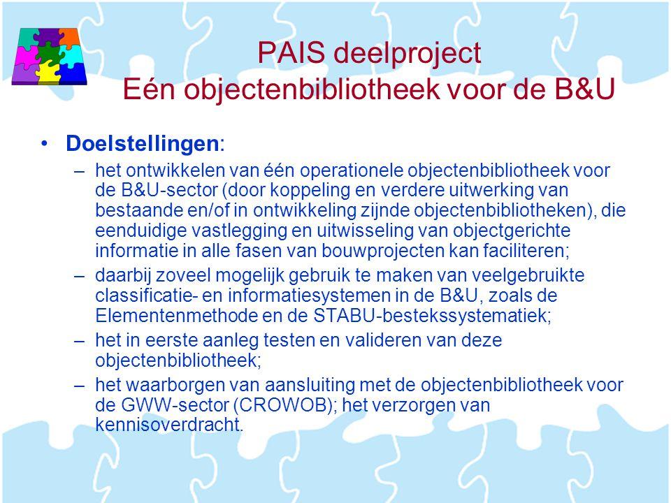 PAIS deelproject Eén objectenbibliotheek voor de B&U