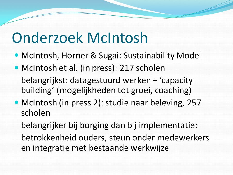 Onderzoek McIntosh McIntosh, Horner & Sugai: Sustainability Model