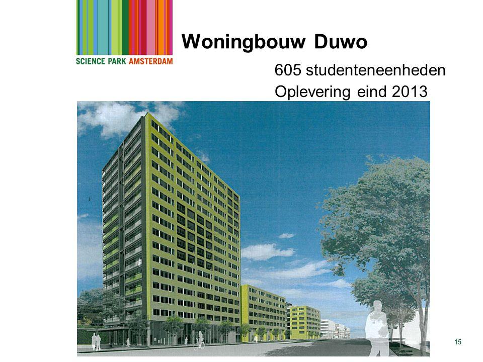 Woningbouw Duwo 605 studenteneenheden Oplevering eind 2013