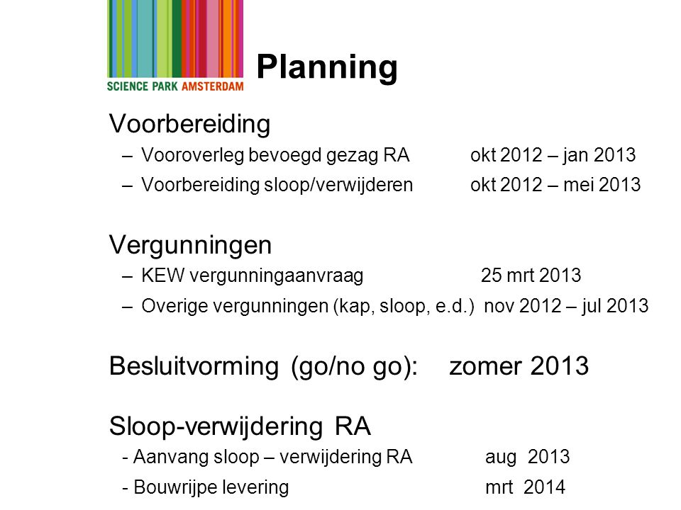 Planning Voorbereiding Vergunningen