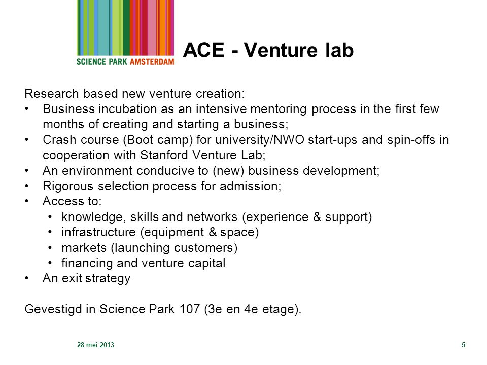 ACE - Venture lab Research based new venture creation: