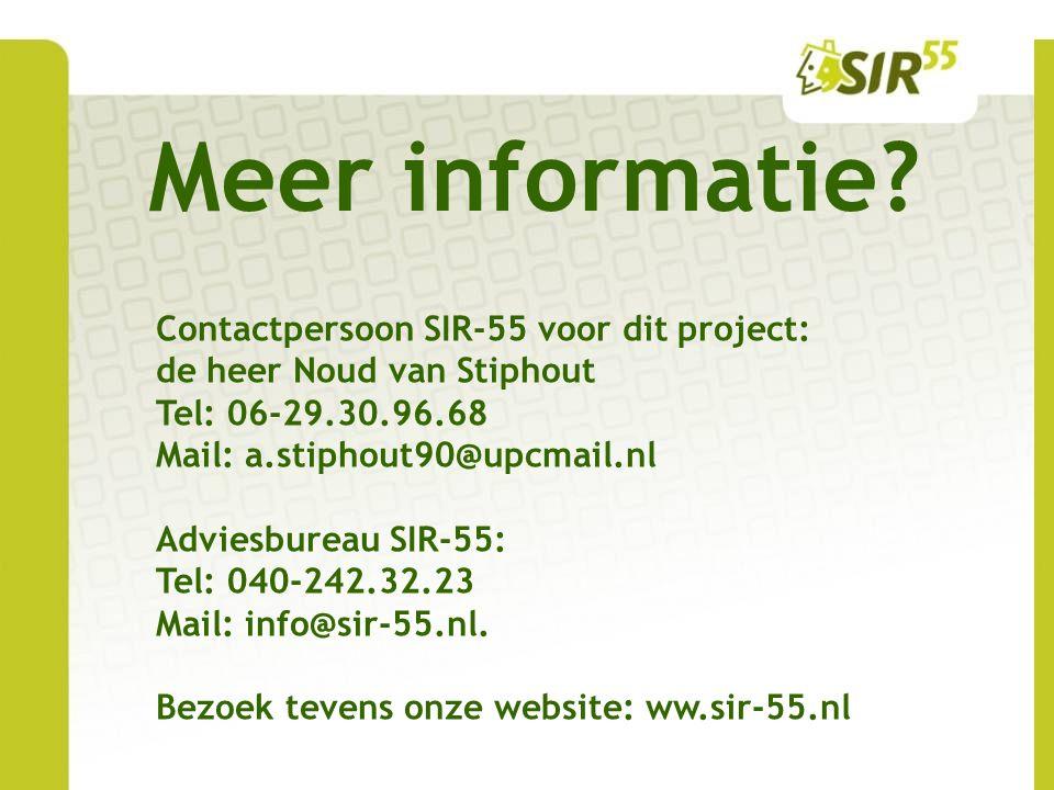 Meer informatie Contactpersoon SIR-55 voor dit project: