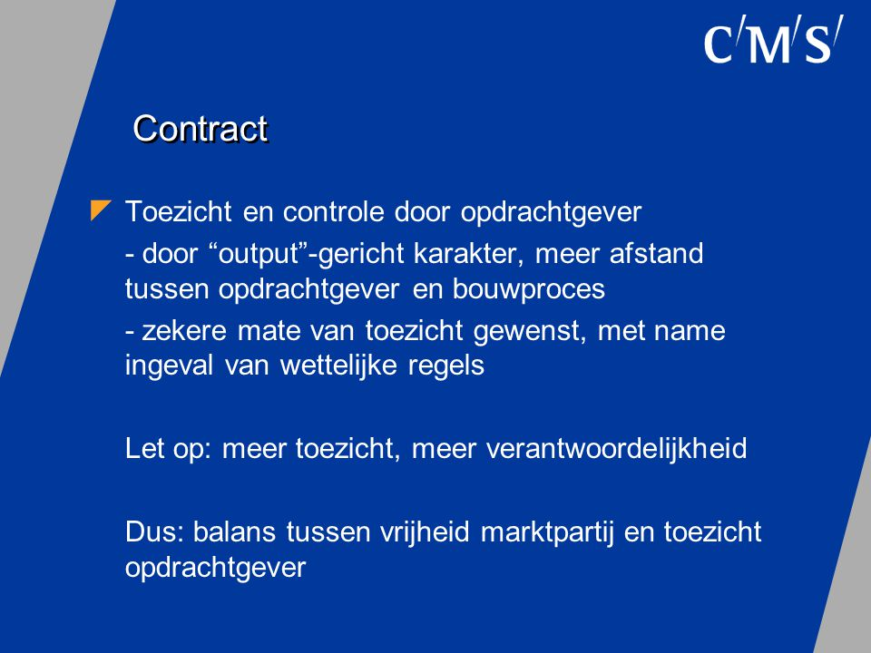 Contract Toezicht en controle door opdrachtgever