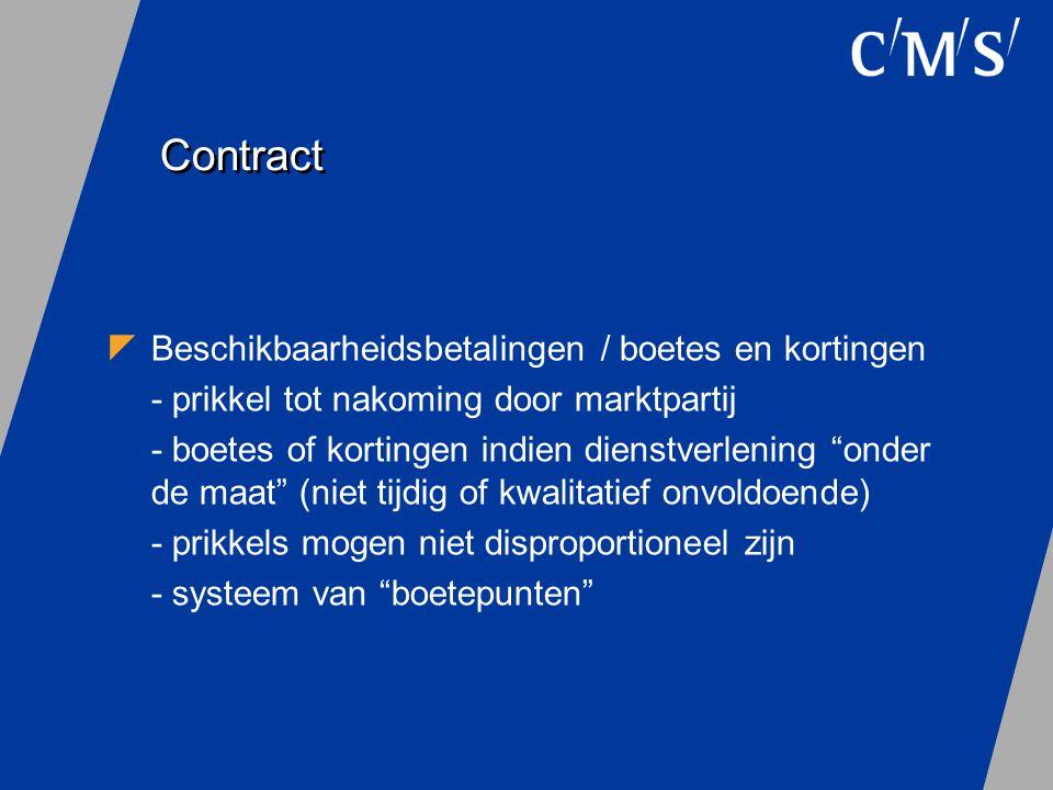 Contract Beschikbaarheidsbetalingen / boetes en kortingen