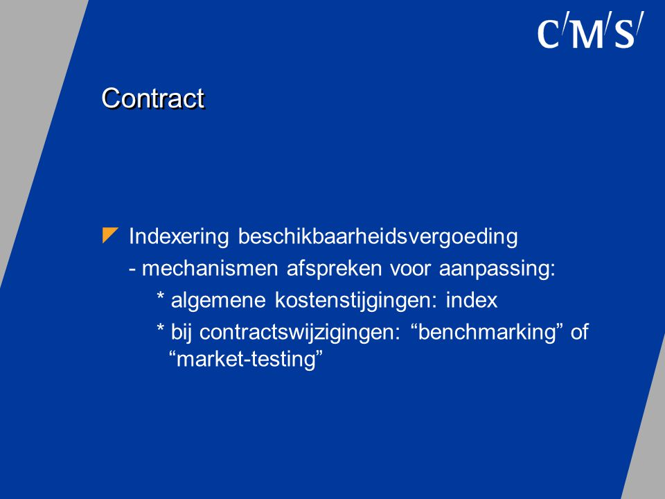 Contract Indexering beschikbaarheidsvergoeding