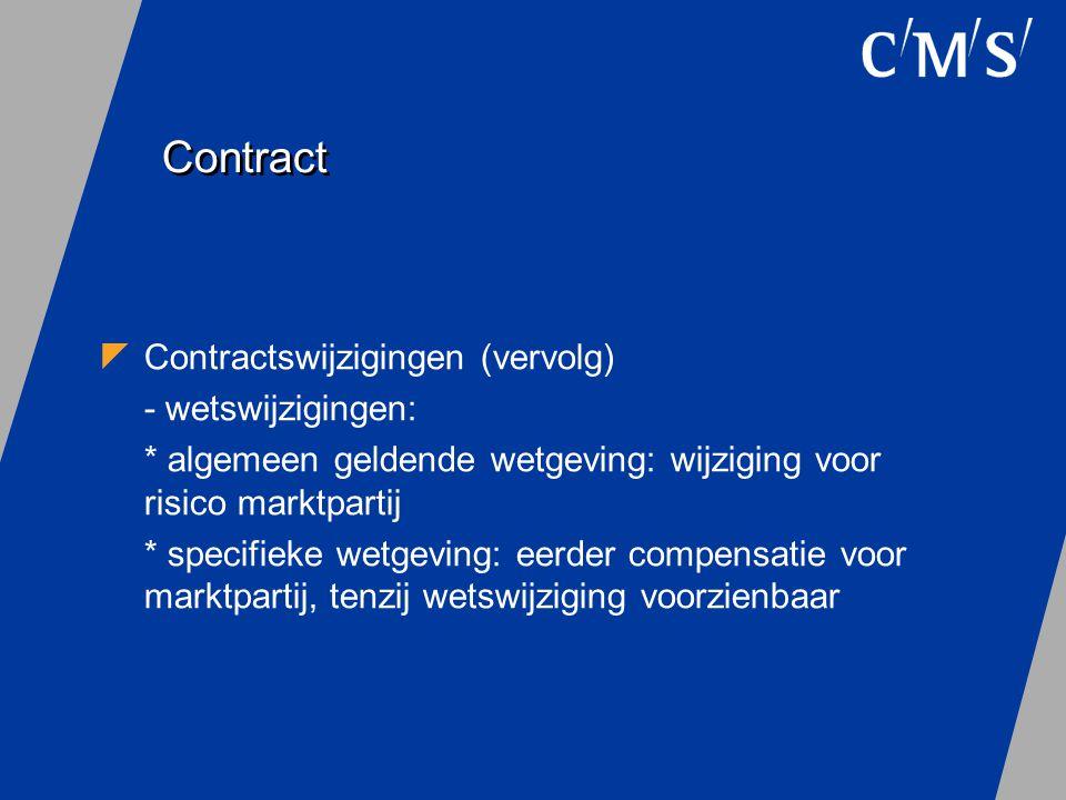 Contract Contractswijzigingen (vervolg) - wetswijzigingen: