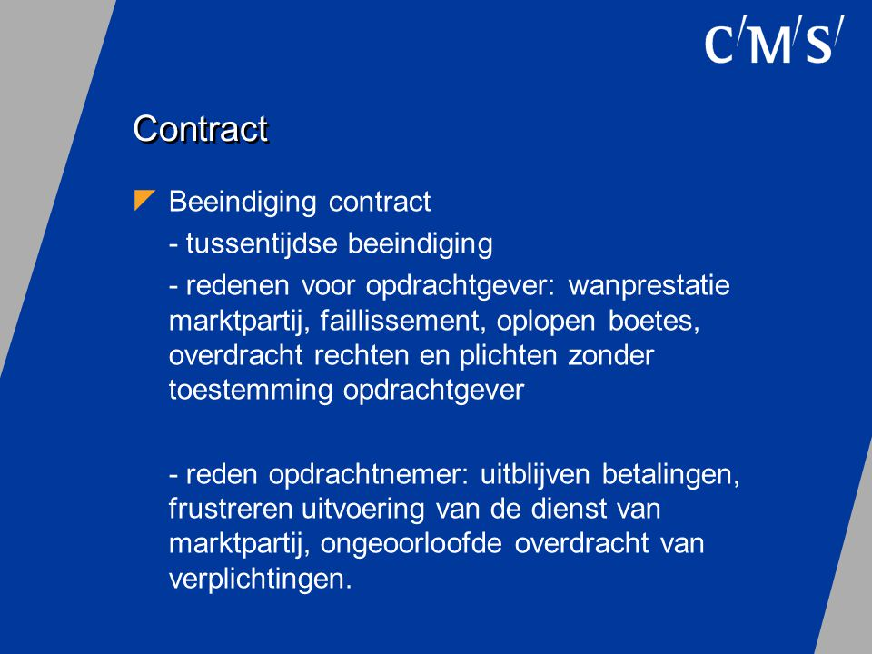 Contract Beeindiging contract - tussentijdse beeindiging
