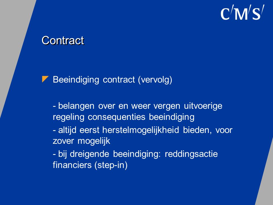 Contract Beeindiging contract (vervolg)