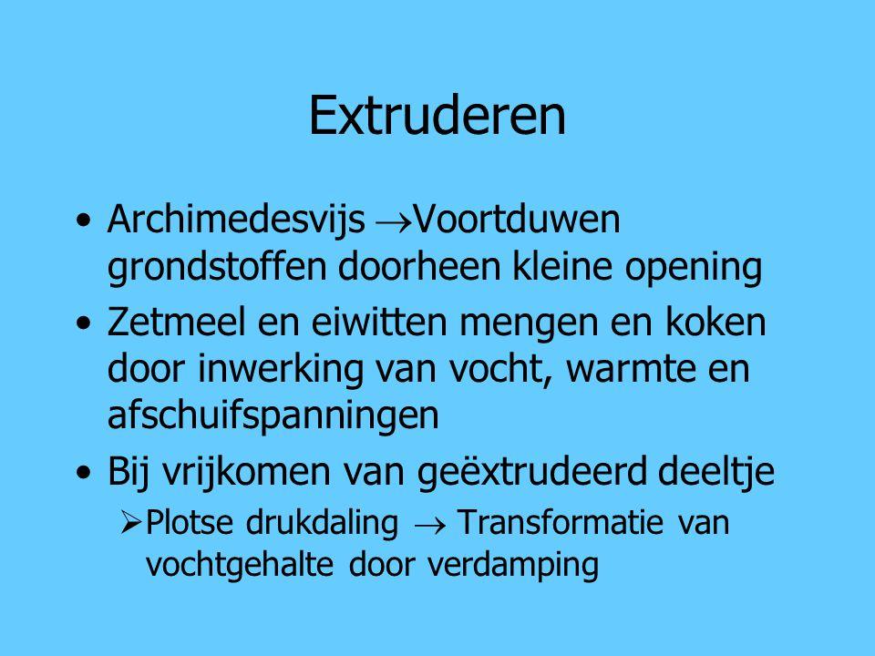Extruderen Archimedesvijs Voortduwen grondstoffen doorheen kleine opening.