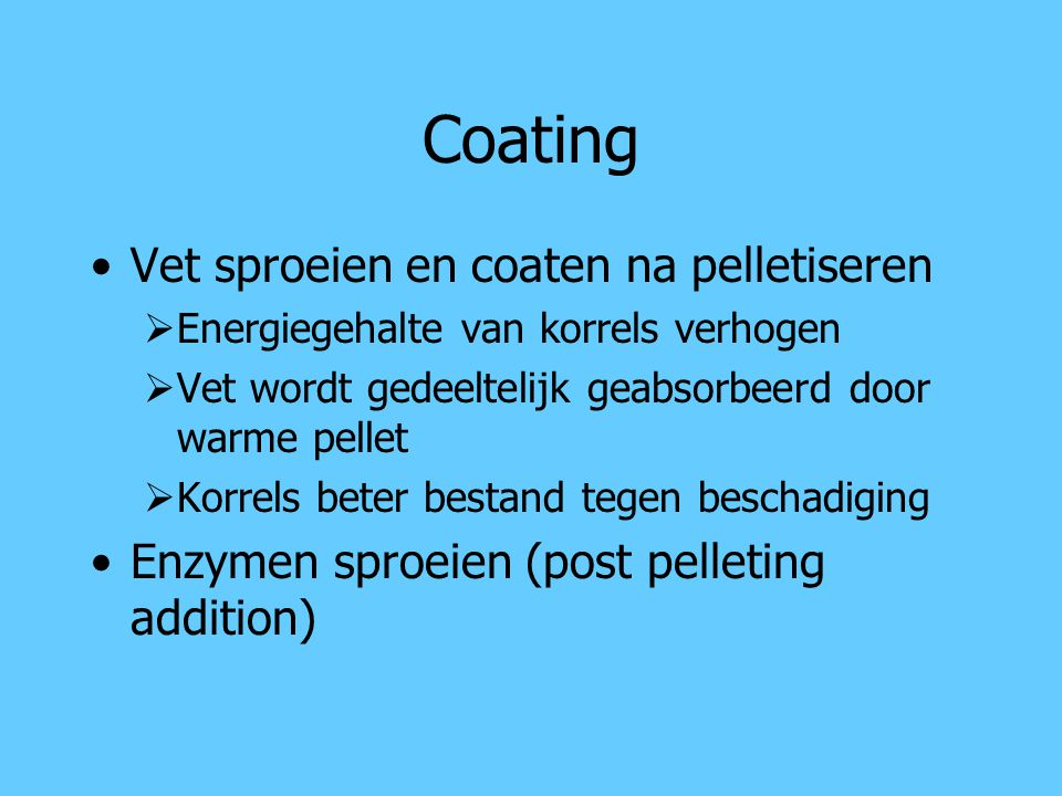 Coating Vet sproeien en coaten na pelletiseren