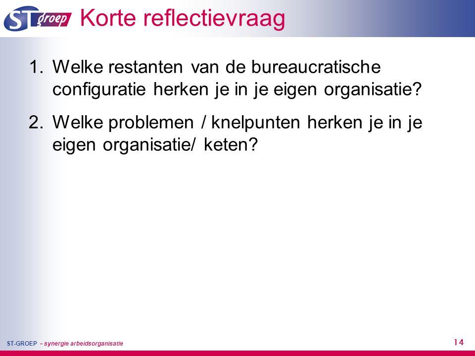Korte reflectievraag Welke restanten van de bureaucratische configuratie herken je in je eigen organisatie