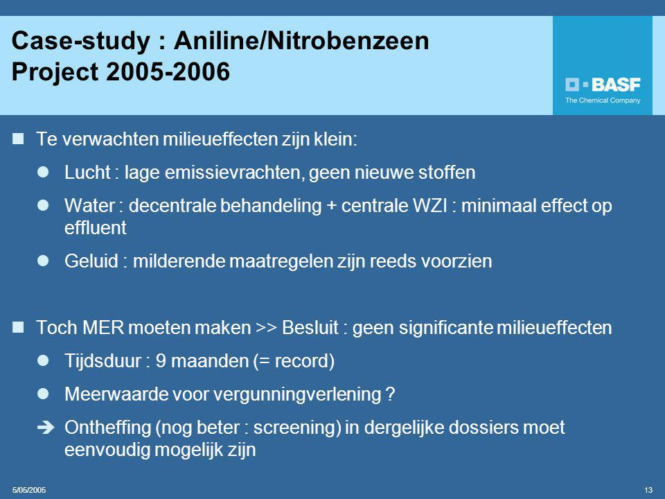 Case-study : Aniline/Nitrobenzeen Project 2005-2006