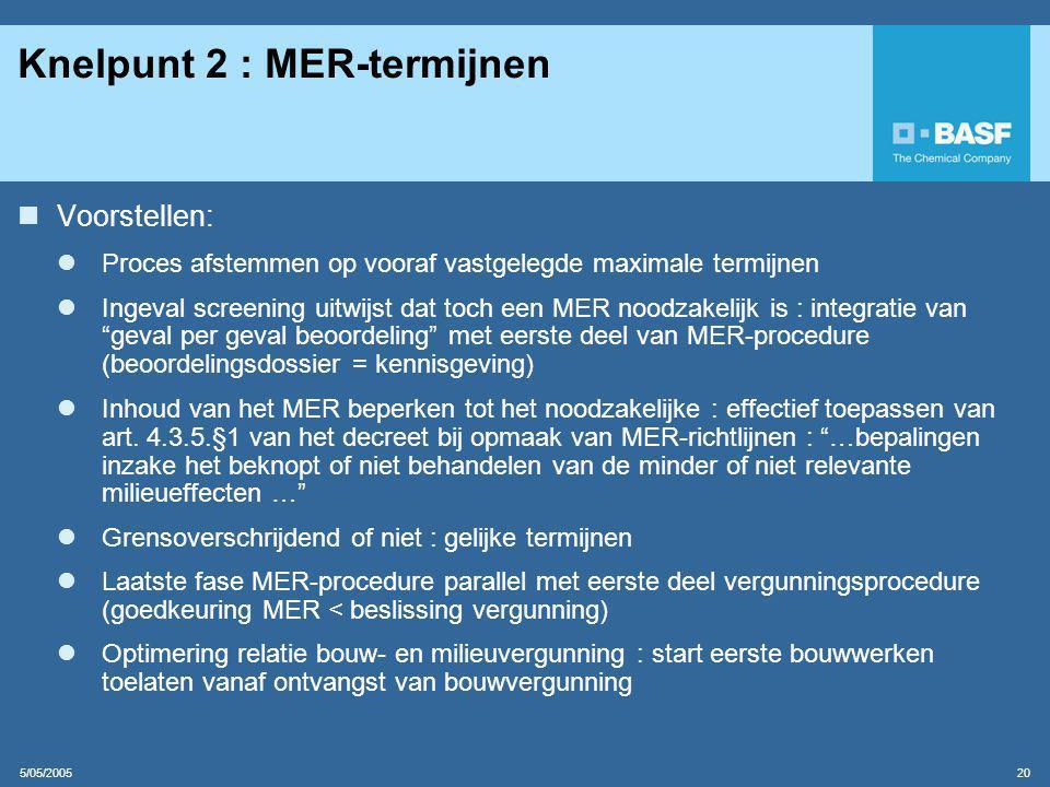 Knelpunt 2 : MER-termijnen