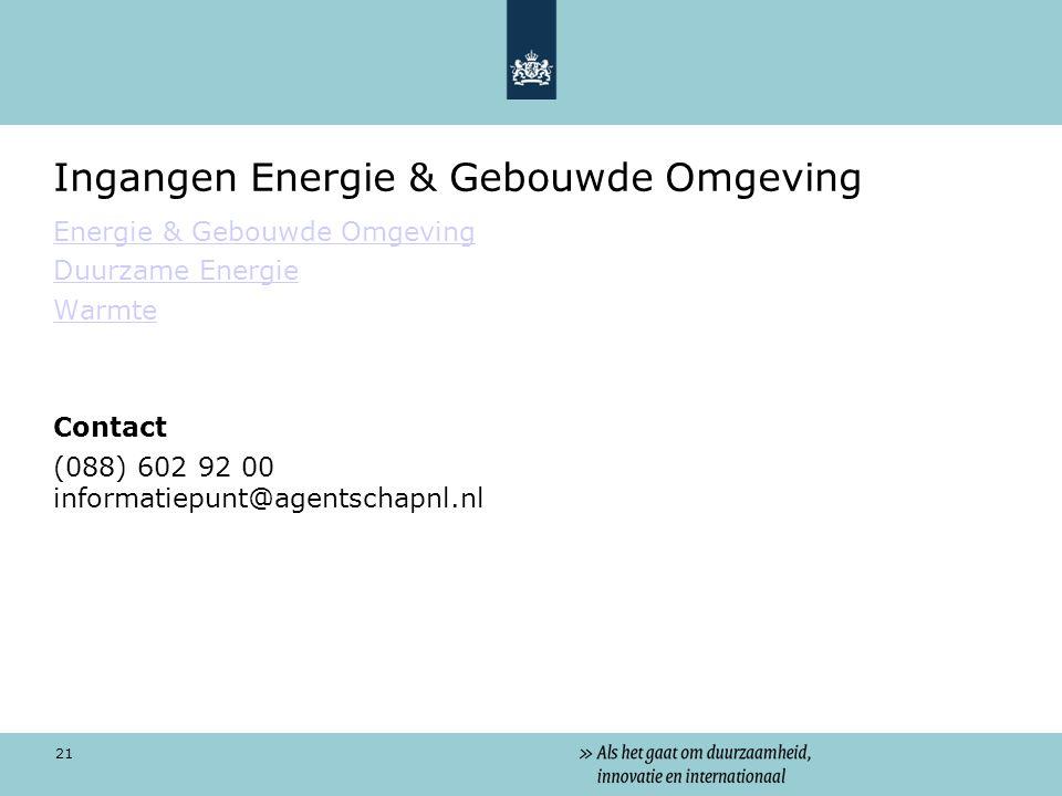Ingangen Energie & Gebouwde Omgeving