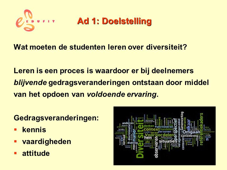 Ad 1: Doelstelling Wat moeten de studenten leren over diversiteit