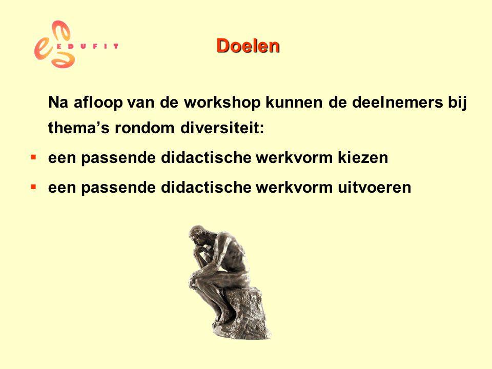 Doelen Na afloop van de workshop kunnen de deelnemers bij thema's rondom diversiteit: een passende didactische werkvorm kiezen.