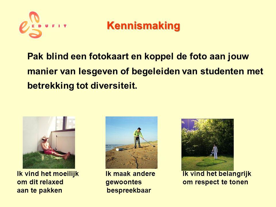 Kennismaking Pak blind een fotokaart en koppel de foto aan jouw manier van lesgeven of begeleiden van studenten met betrekking tot diversiteit.