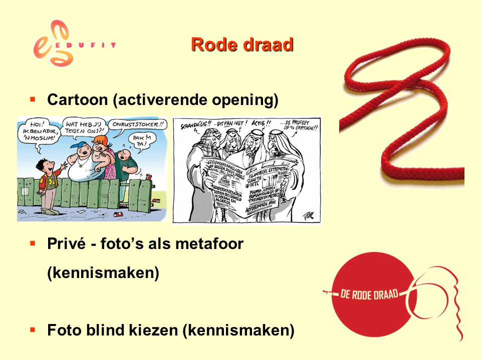 Rode draad Cartoon (activerende opening) Privé - foto's als metafoor