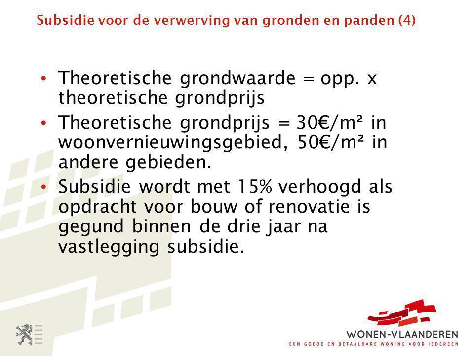 Subsidie voor de verwerving van gronden en panden (4)