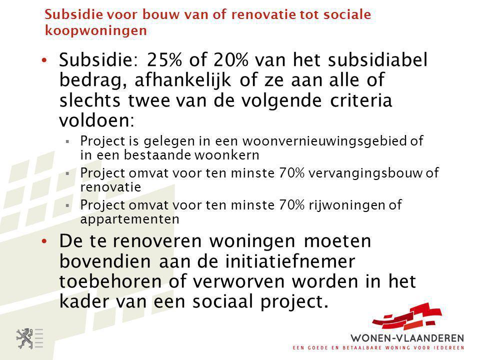 Subsidie voor bouw van of renovatie tot sociale koopwoningen