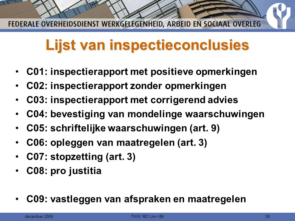 Lijst van inspectieconclusies