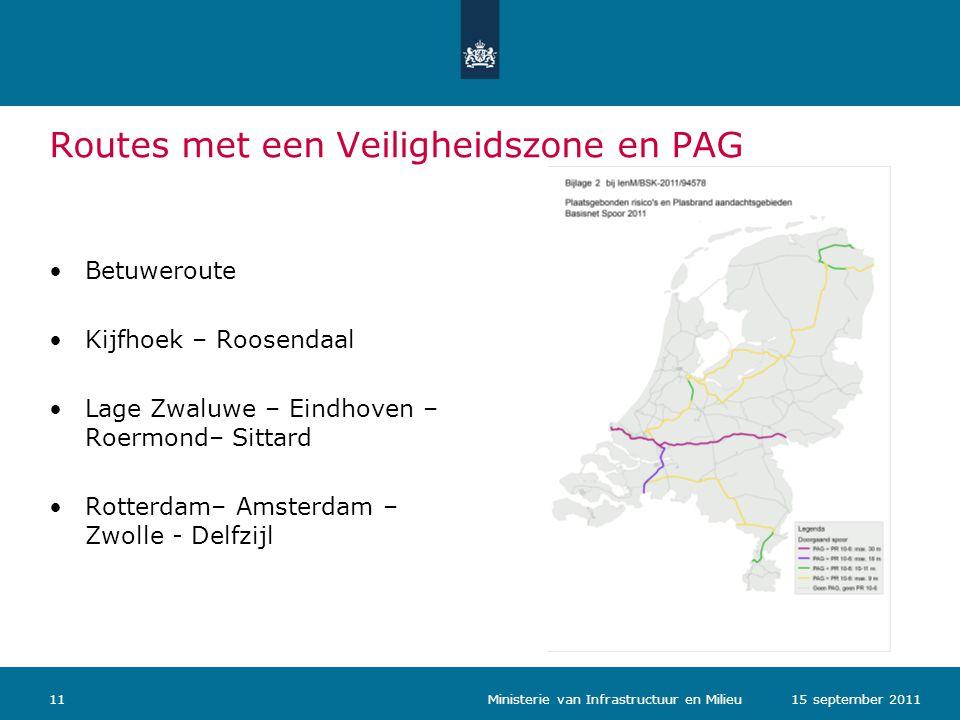 Routes met een Veiligheidszone en PAG