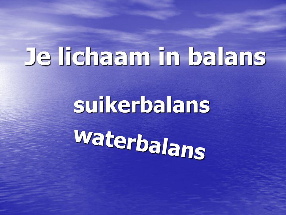 Je lichaam in balans suikerbalans waterbalans