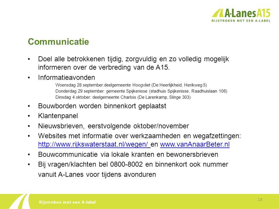 Communicatie Doel alle betrokkenen tijdig, zorgvuldig en zo volledig mogelijk informeren over de verbreding van de A15.