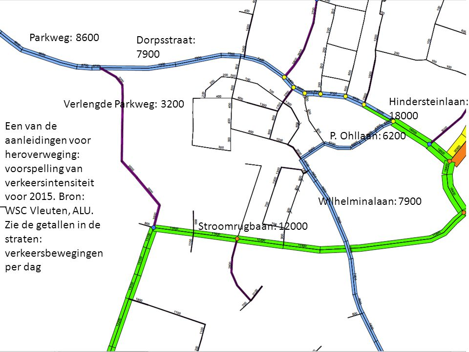 Parkweg: 8600 Dorpsstraat: 7900. Verlengde Parkweg: 3200. Hindersteinlaan: 18000.