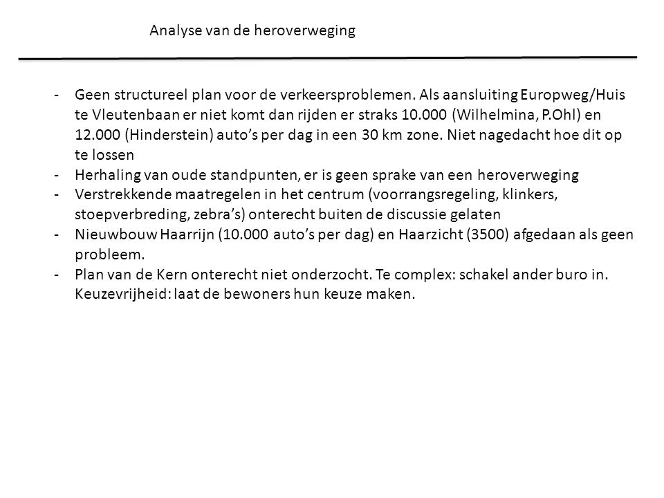 Analyse van de heroverweging