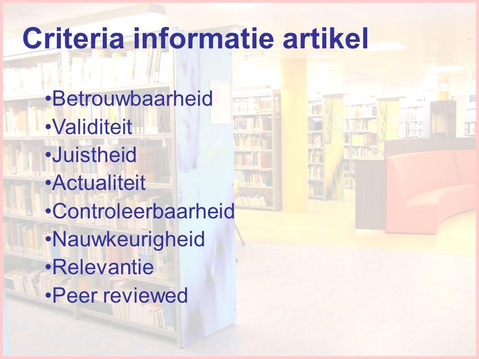 Criteria informatie artikel