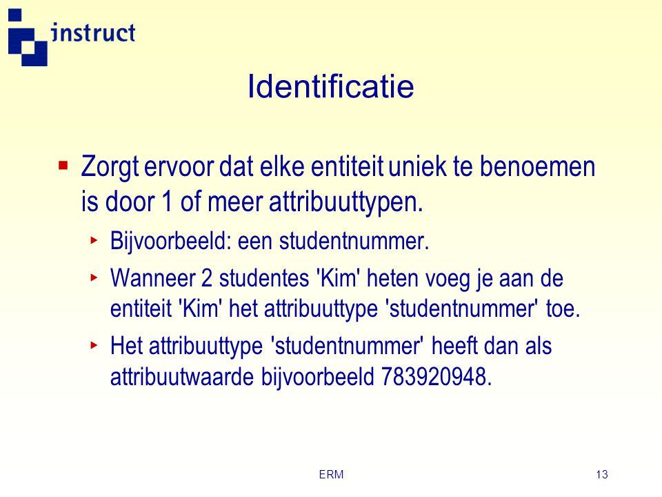 Identificatie Zorgt ervoor dat elke entiteit uniek te benoemen is door 1 of meer attribuuttypen. Bijvoorbeeld: een studentnummer.
