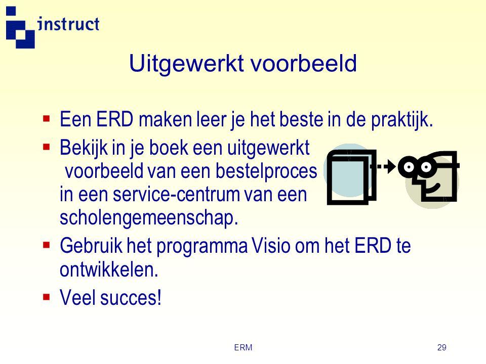 Uitgewerkt voorbeeld Een ERD maken leer je het beste in de praktijk.