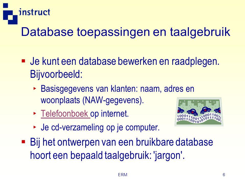 Database toepassingen en taalgebruik